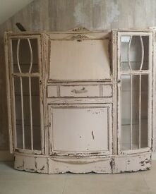 Beautiful, bespoke, distressed wood desk/ bookcase/dresser