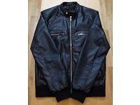 River Island Mens Medium Leather Look Jacket - Black