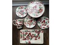 Emma Bridgewater Hawthorn Berries Robin Plates, Oblong Serving Plate & Cake Stand