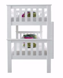 ►Cheapest Offer►Brand New 3FT Convertible White Chunky Pine Wood Bunk Bed w Range Of Mattress option