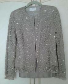 Precis Petite Sequin jacket, matching camisole and evening trouser set, size 10. Worn just once