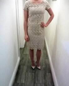 Golden Cream Lace Occasion Dress by Almost Famous - size 8