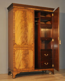 Attractive Large Vintage Flame Mahogany Double Door Fitted Wardrobe