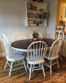6 seater extendable table and chairs