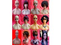FIBERGLASS HEAD & SHOULDERS HALF BUST FEMALE MANNEQUIN: SUNGLASSESS HATS JEWELLERY NECKLACES SCARVES