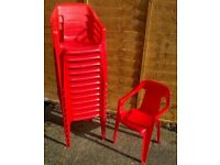 13 x Kiddies Chairs - 1/2 size patio type - red