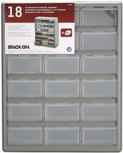 NEW Stack-On DS-18 18 Drawer Storage Cabinet (Gray)
