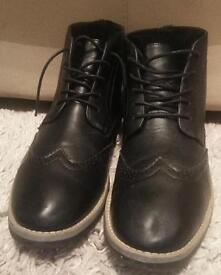 BLACK BROGUE STYLE SMART ANKLE BOOTS/SHOES, SIZE 12
