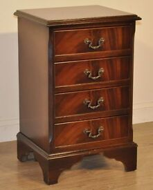 Attractive Very Small Vintage Flame Mahogany Petite Chest Of Four Drawers