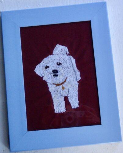 Maltese Dog Portrait, Hand Embroidered