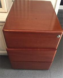 Brown chest of draws/cabinet/filing cabinet with key