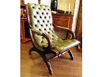 Stunning Geunuine Leather Chesterfield Library Chair in Racing Green - WE CAN DELIVER