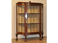 Attractive Vintage Carved Mahogany Bow Front Demi Lune Lined Display Cabinet