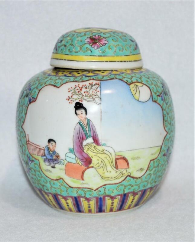 """VINTAGE CHINESE FAMILLE ROSE MUN SAU TURQUOISE 6"""" GINGER JAR WITH PAINTED SCENES"""