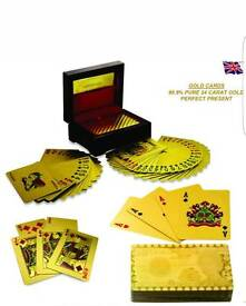 Very rare 24k gold playing cards with box