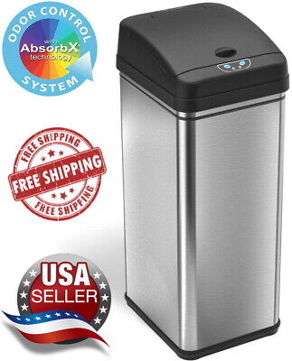 iTouchless 13 Gallon Touchless Sensor Trash Can Stainless Steel w/ Odor Filter Trash Can Odor