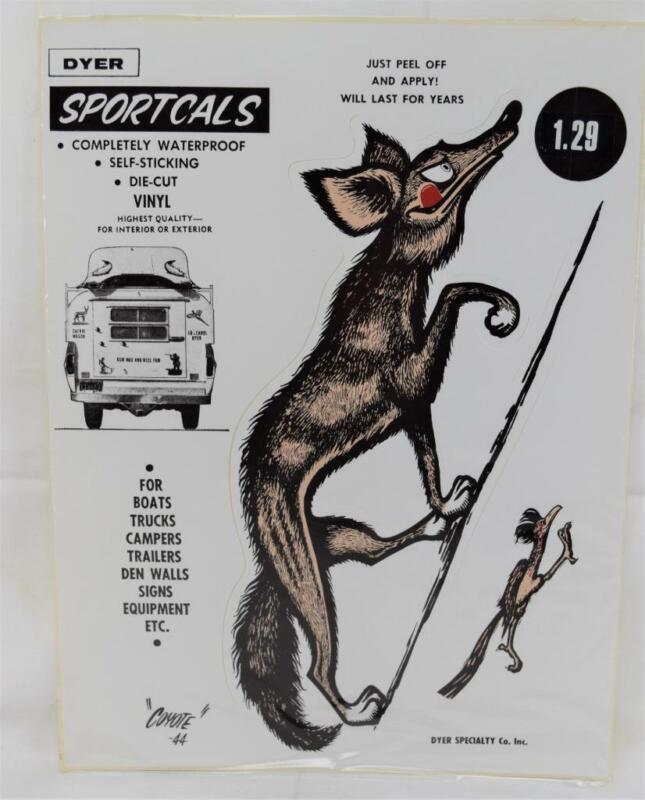 NOS Dyer Sportcals Die Cut Vinyl Waterproof Decal Sticker Coyote & Roadrunner 44