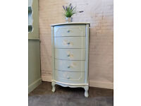 Pretty Bow Fronted Tallboy Chest of 5 Drawers