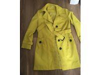 New Ladies M&S light coat yellow colour size 12 knee high