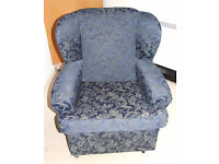 Blue Fabric Armchair - with swivel castors - great condition, very comfortable