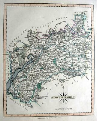 GLOUCESTERSHIRE GLOUCESTER   BY JOHN CARY GENUINE ANTIQUE ENGRAVED  MAP  c1809