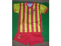 Children's Barcelona/Spain Football Kits, approx age 10-12 years