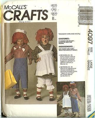 McCalls Sewing Pattern 4097 7743 Halloween Costume RAGGEDY ANN ANDY Adult Sizes