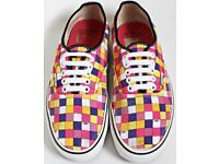 Men's Size 7.5 Vans Trainers - Multi Coloured Checkered Print