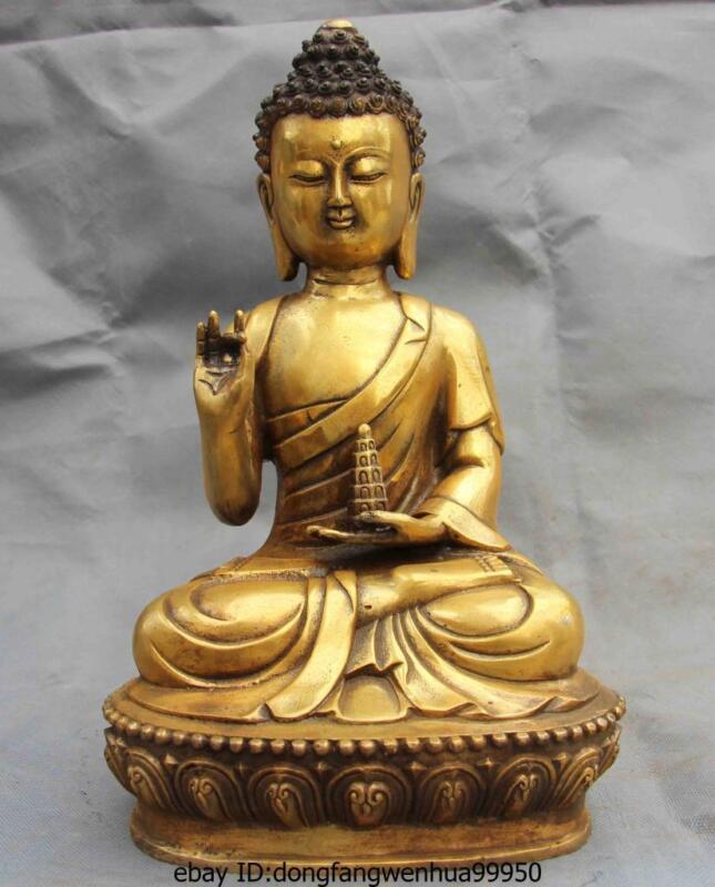 Tibet Buddhism Copper Bronze Gild Stupa Sakyamuni Tathagata God Buddha Statue