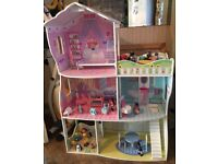 Wooden Dolls House With Dolls And Furniture See Pics Delivery Possible