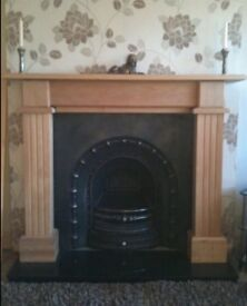 Cast iron fireplace and granite hearth