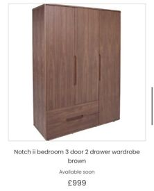 Offers! Dwell Notch II double bed, mattress, wardrobes and side table