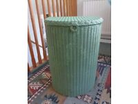 LLOYD LOOM VINTAGE LAUNDRY BASKET - 1930's GREEN