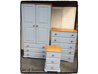Pine Rustic Large Bedroom Furniture Set Wardrobe Chest of Drawers Bedside Table Hand Painted