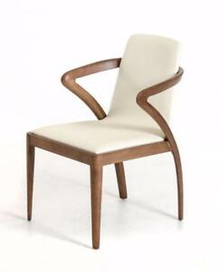 New, Set of 6 Modrest Falcon Modern Walnut and Cream Dining Chair *PickupOnly