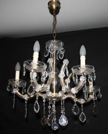 VINTAGE MARIE THERESE CHANDELIER FRENCH GLASS CLAD CEILING LIGHT. - Ref: GFB6