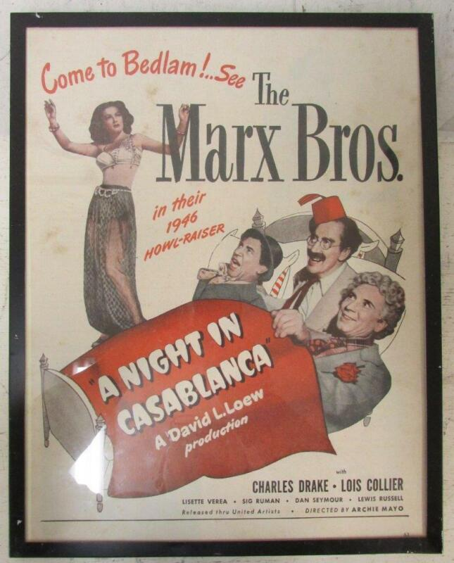 1946 FRAMED NEWSPAPER AD A NIGHT IN CASABLANCA Marx Brothers Lois Collier ~WW