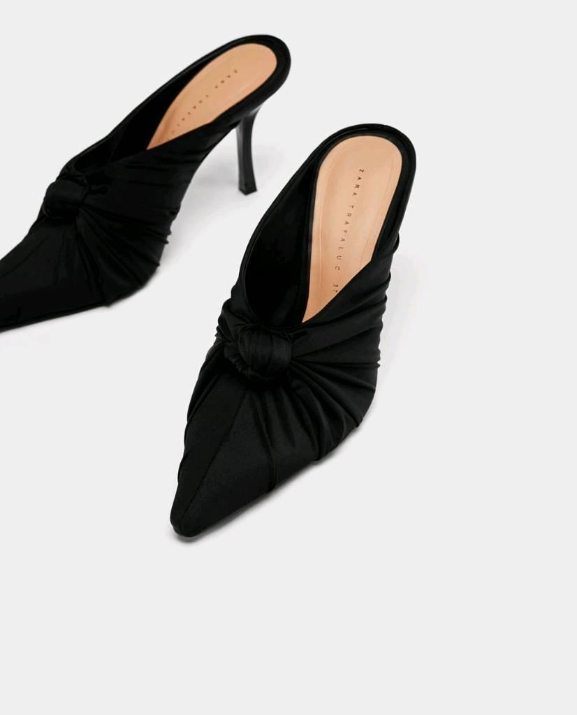 81b07dff411 ZARA  NEW  Black High Heel Mules with Bow