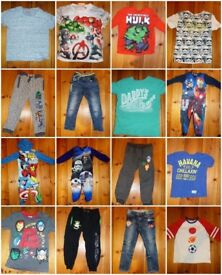 Boys clothes bundle age 4-5 and 5-6 excellent condition next star wars avengers onesies jeans tops