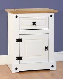 white corona 1 drawer 1 door bedside