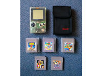 Nintendo Gameboy Pocket CLEAR with softcase & five super games inc. Mario & Metroid