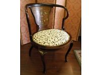 Gorgeous Curved Back Victorian Inlaid Bedroom Chair. - WE CAN DELIVER
