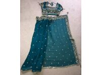 Teal tension heavily embroidered sari