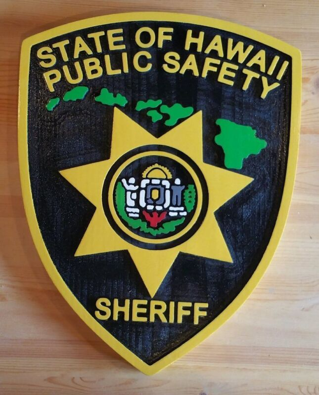 Police Hawaii Sheriff  3D routed wood award patch plaque sign Custom Carved