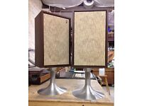 Vintage American Jensen Model 2 Speakers with Retro Stands, Refoamed Drivers