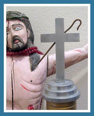 Rare Folk Art Metal Religious Church Scripture Altar Crucifix Cross Post Pillar