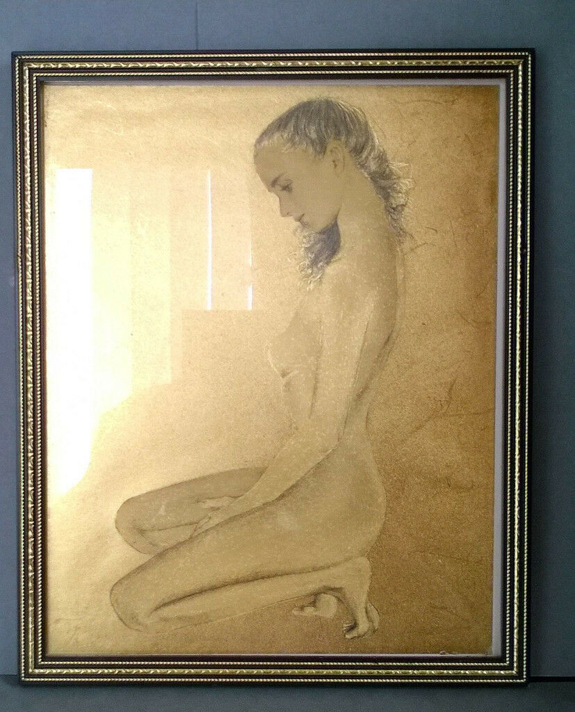 lady on gold foil etching picture
