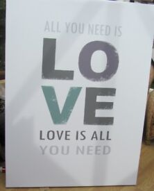 2 x New Large Music canvases painting Beatles All you need is love. Farrell Williams Happy £10 each