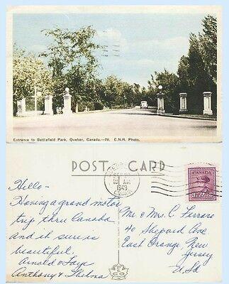 Entrance Battlefield Park Quebec City Canada C N R Photo 1949  Postcard