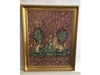 Large Lady & Unicorn Cross-Stitch Art Picture VAL O'LEARY Gold Frame (78x63cm)